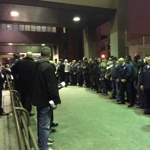 Vine by Shimon Prokupecz - More officers now lining up as police prepare to move two bodies of fallen officers #nypd