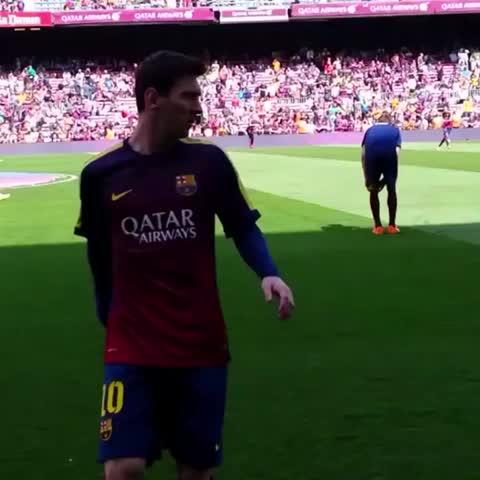 Vine by FC Barcelona - #fcblive Leo #Messi warming up for the Barça v Valencia game. Will he score today? #FCBValencia