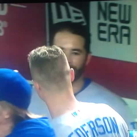 Vine by Ryan Walton - Joc goes over to Ethier to gloat after he unloaded for his 20th homer. #Dodgers
