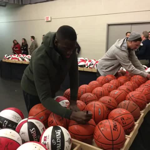 Vine by NBA - #DraymondGreen puts his 🖋 right next to the commishs on the #NBAAllStarTO basketball!
