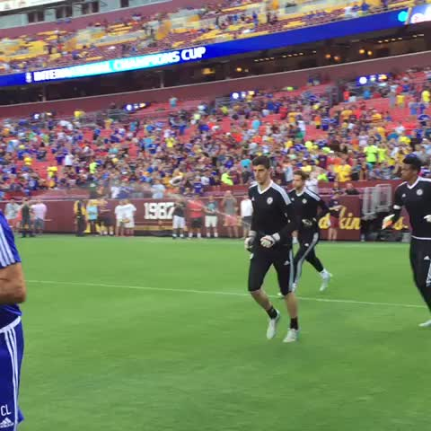 Vine by Chelsea FC - Out go the #Chelsea goalkeepers to warm up at the FedEx Field. #CFCTour