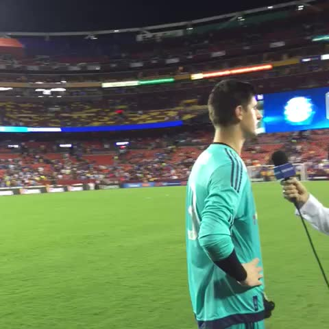 Vine by Chelsea FC - Man of the match Thibaut Courtois speaking to Chelsea TV... #CFCTour