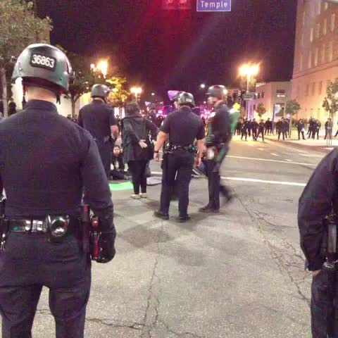 One by one, demonstrators are being taken into custody and transferred into a bus. #Fergusonverdict #DTLA - Ruben Vivess post on Vine