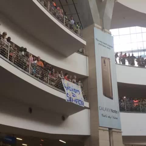 Vine by Dep. Sport & Rec - Crowds gather at O.R Tambo Airport to welcome #MissWorld #RoleneStrauss