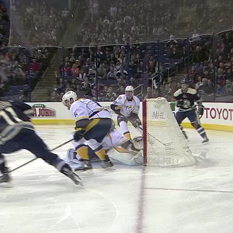 Vine by NHL Blue Jackets - REPLAY: Nick Folignos disallowed goal. #CBJ