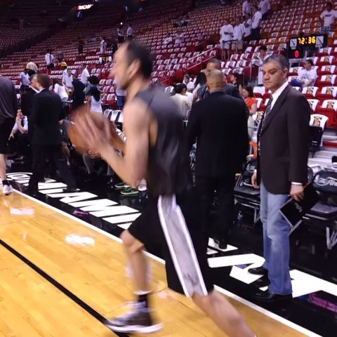 Manu Ginobili getting ready for #NBAFinals Game 6. #GoSpursGo